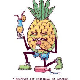 Pineapples get emotional at Karaoke