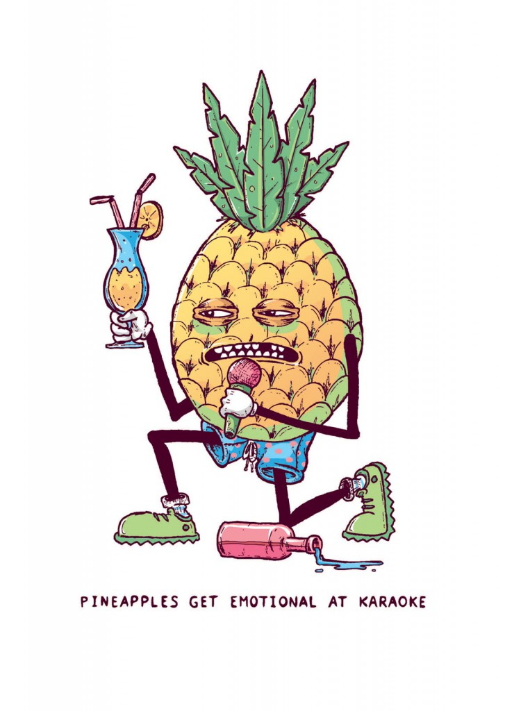 pineapples get emotional at karaoke