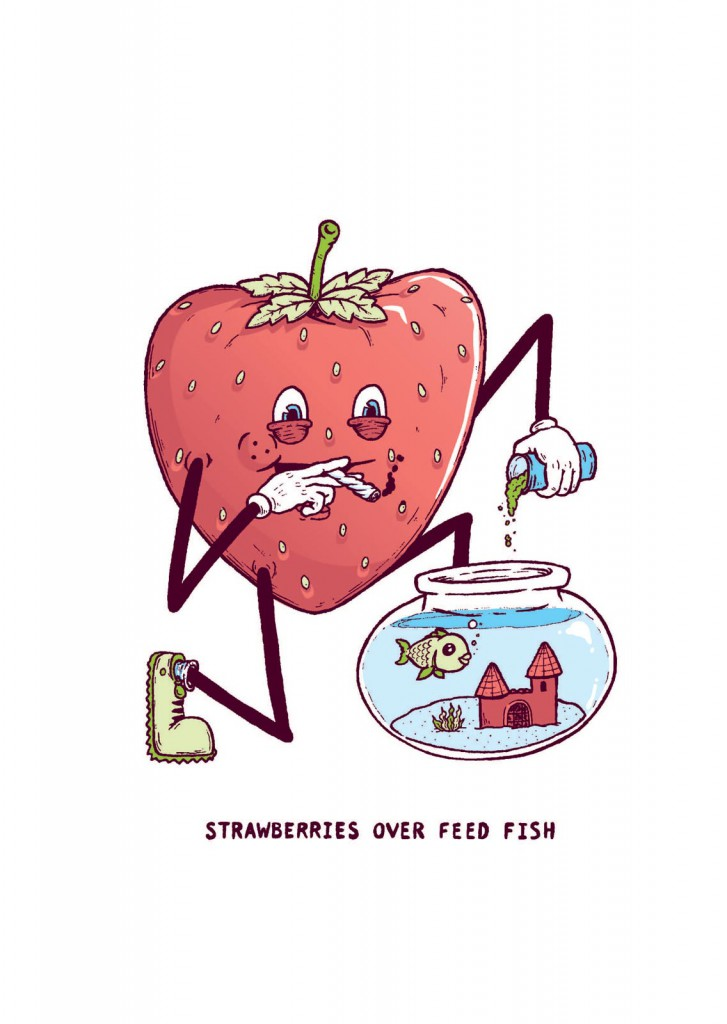 strawberries over feed fish